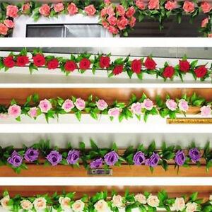 2-4m-Artificial-Seda-Flor-Rosa-Hiedra-Guirnalda-Fiesta-Boda-Decoracion-Hogar