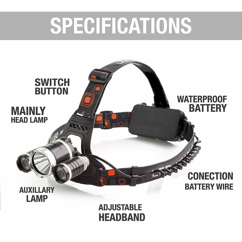 Waterproof 90000LM 3X T6 LED Headlamp Headlight Flashlight Head Torch 18650 Camp 7