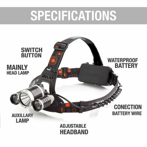 100000LM LED Headlight Headlamp Head Torch 18650 Flashlight Work Light Camp