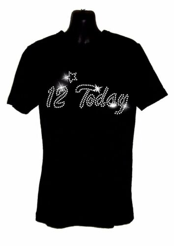 KIDS 11 today 11th Birthday T Shirt Crystal Diamante Design  10th 12th 13th