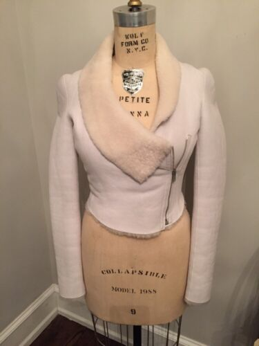 Authentic Helmut Lang White Leather Cream Shearling Cropped Motorcycle Jacket Xs by Helmut Lang