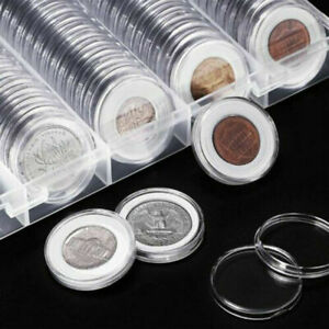 100-Pcs-21mm-Coin-Holder-Clear-Capsules-Storage-Box-Round-Display-Case-Container