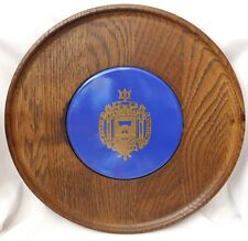 VINTAGE US NAVAL ACADEMY CHEESE PLATE WALL CREST MID CENTURY WOODEN PLAQUE BOLD