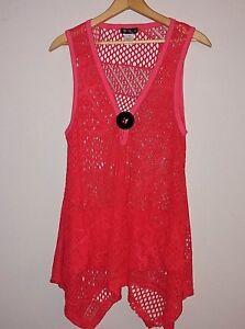 Lily-by-Firmiana-Women-039-s-Asymmetrical-Orange-Crochet-Knit-Tunic-Top-Size-Small
