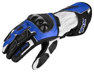 Motorradhandschuhe hochwertig von XLS Lederhandschuhe blau weiß Gr. S bis 3XL