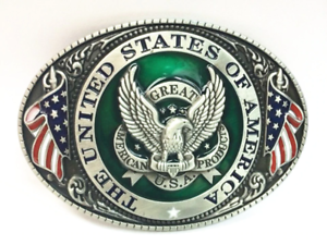 U-S-A-American-Flag-Eagle-Metal-Fashion-Belt-Buckle