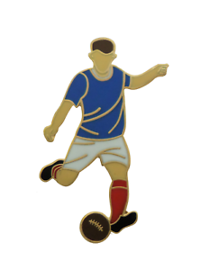 Royal Blue & White with Red Socks Football Player Gold Plated Pin Badge