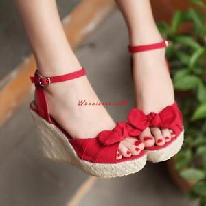 Summer-Women-039-s-Open-Toe-Shoes-Wedge-Heel-Ankle-Strap-Slingbacks-Sandals-Platform