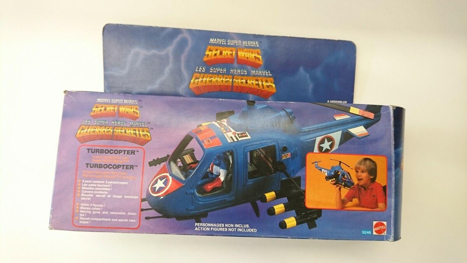 VINTAGE Secret Wars francese turbocopter giocattolo veicolo in scatola 1984