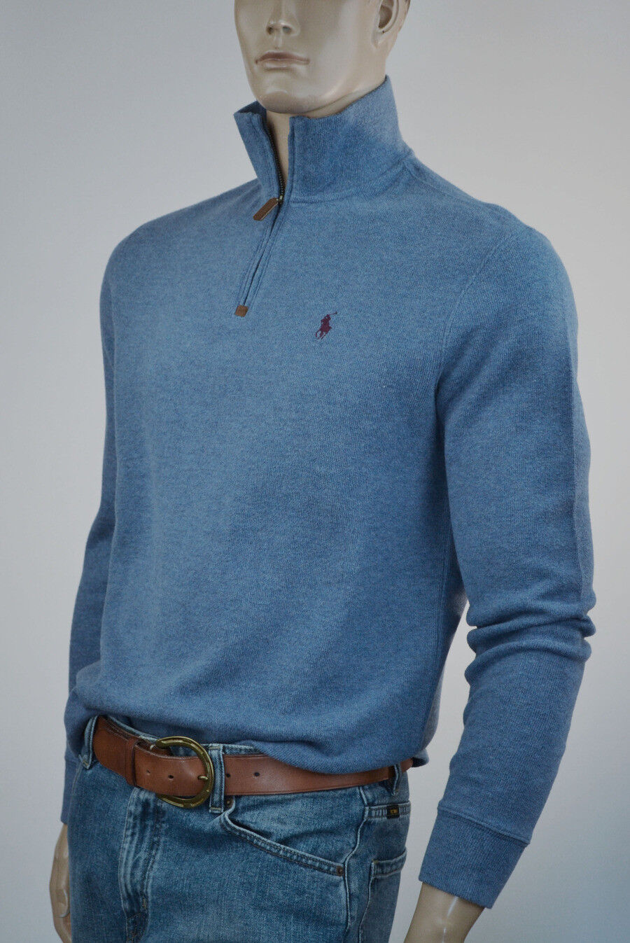 Ralph Lauren French-Ribbed bluee Half-Zip Sweater Burgundy Pony -NWT