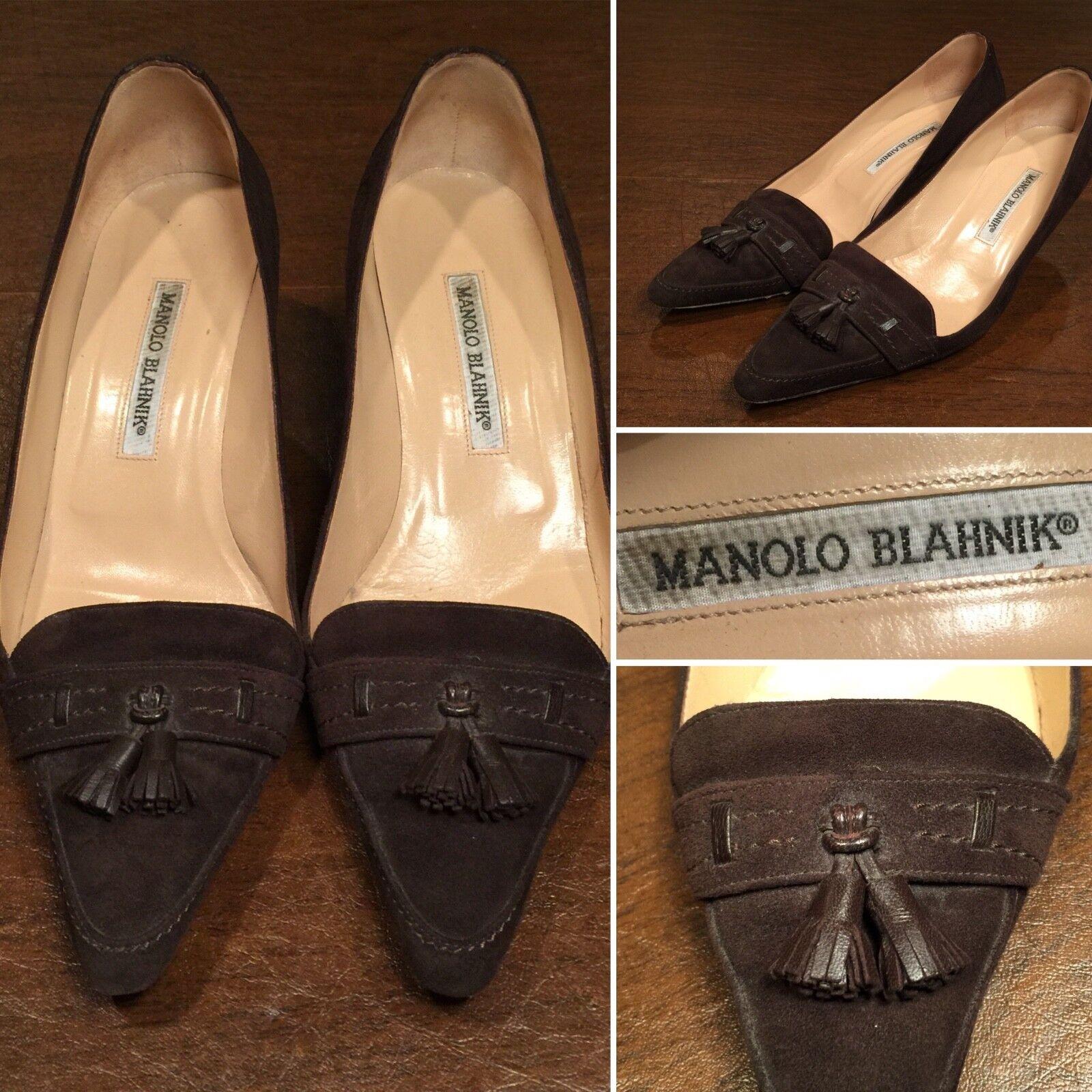 MANOLO BLAHNIK Dimensione  38.5  US 8 Marronee Suede Pointed -Toe Kitten Heels Tasseles scarpe  prendiamo i clienti come nostro dio
