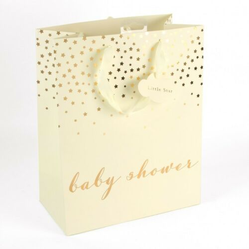Bambino by Juliana Baby Shower Gift Bag /& Tag  Ivory /& Gold Stars Large