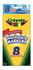 Crayola Washable Markers, Fine Line, Classic Colors, 8 Ct (Pack of 24)