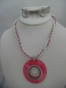 Clip-on-silver-amp-pink-seed-bead-necklace-amp-earring-set-w-pink-shell-pendant