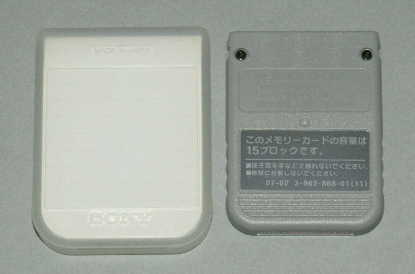 Grey Official PS1 Memory Card + Case - Sony PlayStation One Tested SCPH-1020 #1