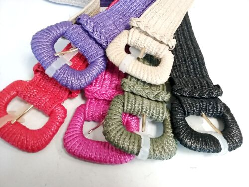 Single Pin Metal Buckle Women Nylon Rubber Stretch Belt Choose Color /& Size