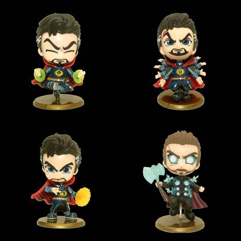 4pcs 11CM Cosbaby Thor Doctor Stranger Avengers Cute Mini PVC Figure New In Box