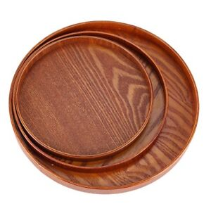 Round Natural Wood Serving Tray Wooden Plate Tea Food ...