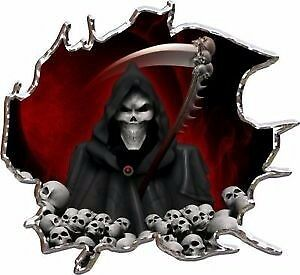 Grim reaper skulls red race car go kart vinyl graphic decal