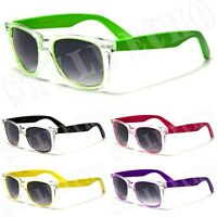 Clear Frame with Neon Color Legs Retro Vintage Classic Wayfarer Sunglasses