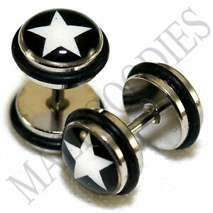 0169-Fake-Cheater-Faux-Illusion-Ear-Plugs-16G-Look-0G-8mm-Star-Black-White-Stars