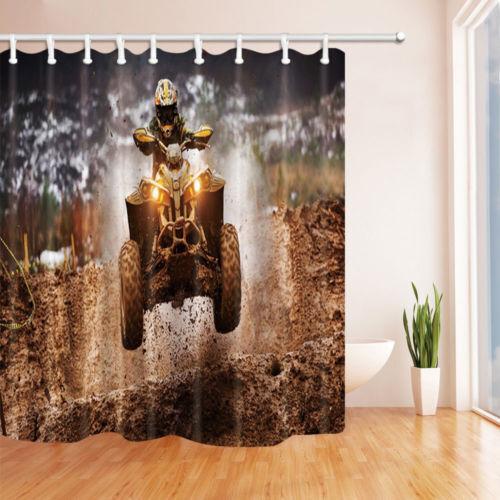 "Modern Motor Sports Shower Curtain Bathroom Waterproof Fabric /& 12 Hooks 71*71/"""