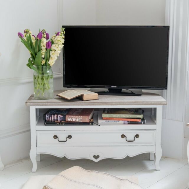 meet 9a763 401ec Vintage Corner TV Stand Cabinet Furniture Shabby Chic Drawer Shelf Storage  Unit