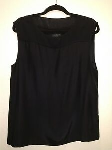 Rag-Bone-Womens-100-silk-Pullover-Blouse-Shirt-Top-Sleeveless-black-Size-M