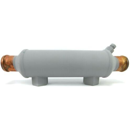 "NEW Seakamp 26144 Marine Oil Cooler 2x6/"" Body 1//2/"" NPT 1-1//4/"" Hose Copper 9/"" OAL"