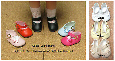 """54mm WHITE Ribbon Side Mary Janes Doll Shoes Leathr Look Bows 13/"""" Patsy"""