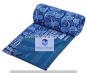 Hand Block Print Twin Cotton Kantha Quilt Throw Blanket Bedspread Throw Gudari