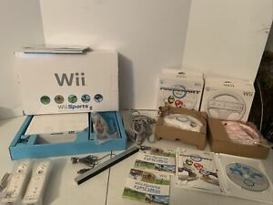 Nintendo Wii Mario Kart Console Bundle 2 Controllers & Wheels - Wii Sports W/Box