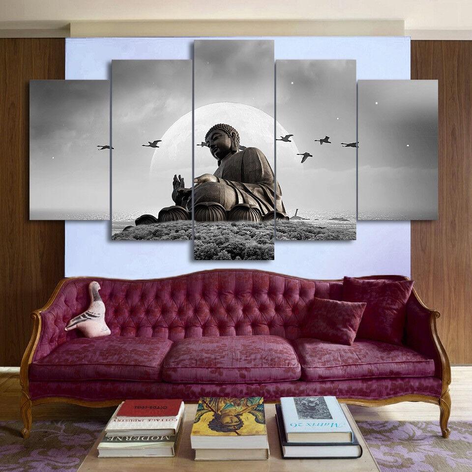 Buddha Statue Flying Birds 5 Piece Canvas Print Wall Art
