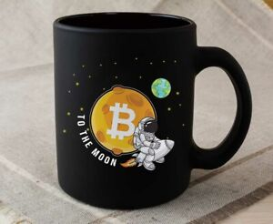 Bitcoin Black Mug BTC To the Moon Astronaut Crypto Cryptocurrency Gifts Novelty