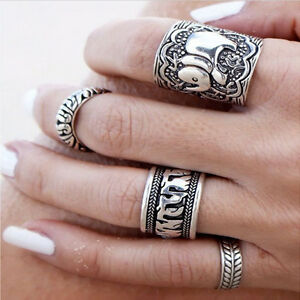 Women-Boho-Beach-Bohemian-Retro-Carved-Silver-Elephant-Totem-Leaf-Lucky-Ring-Set