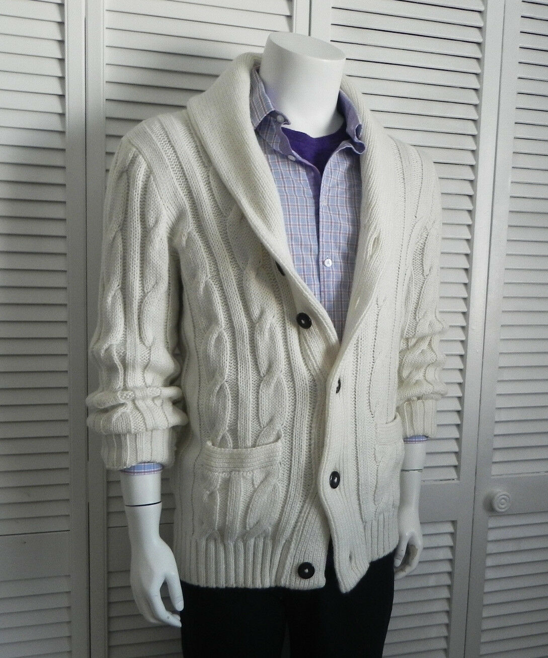 NEW Mens 3XL ALPACA Ivory Weiß Shawl Collar Knit Cardigan Cable Sweater PERU