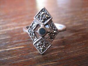 feiner-Art-Deco-Markasit-Ring-Schiffchenring-925er-Silber-Markasiten-elegant