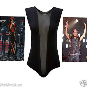 Ladies-Womens-Girls-Crew-Neck-Mesh-Insert-Panel-Sleeveless-Bodysuit-Black-8-14