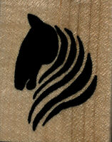 Mounted Rubber Stamps Horse Head Silhoutte Wood Mount 1 3/4 X 2 1/4