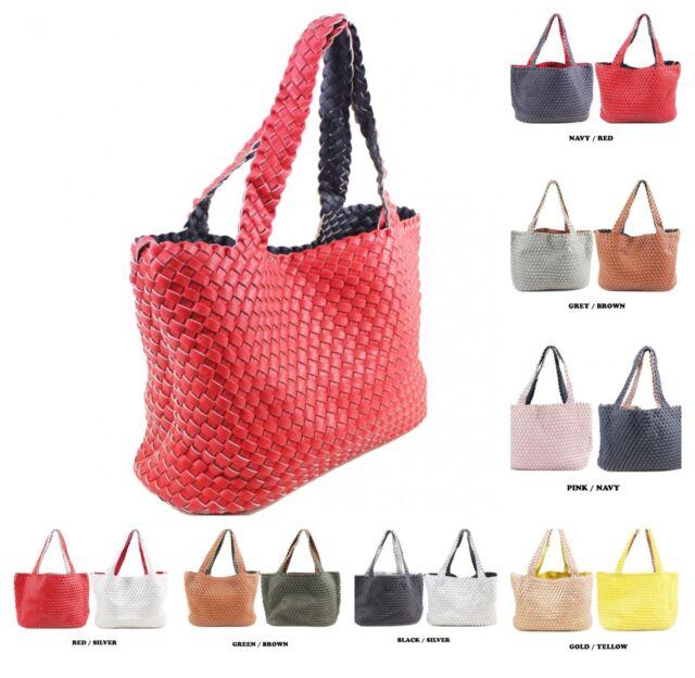 34176b761a8 Women 2-in-1 Reversible Woven Tote Handbag Ladies Crossbody Shopper  Shoulder Bag