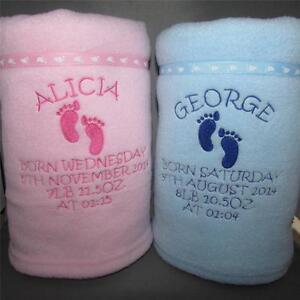 Personalised baby blanket namedateweighttime birth gift image is loading personalised baby blanket name date weight time birth negle Image collections