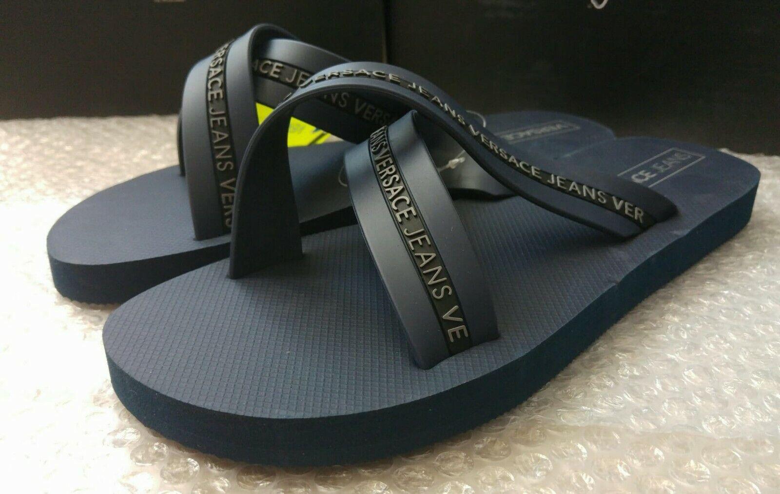 3e0d7eddf Versace Jeans Logo Cross Over Flip Flops in Navy Uk8 for sale online ...