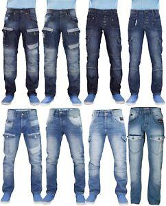 Mens-Jeans-De-Pierna-Recta-Disenador-Rawcraft-Multiples-Bolsillos-Cargo-Pantalones-de-mezclilla