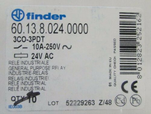 FINDER 60.13.8.024.0000 3 CO-3PDT 10 Amp 24 VAC Relay 60 13 8 024 0000