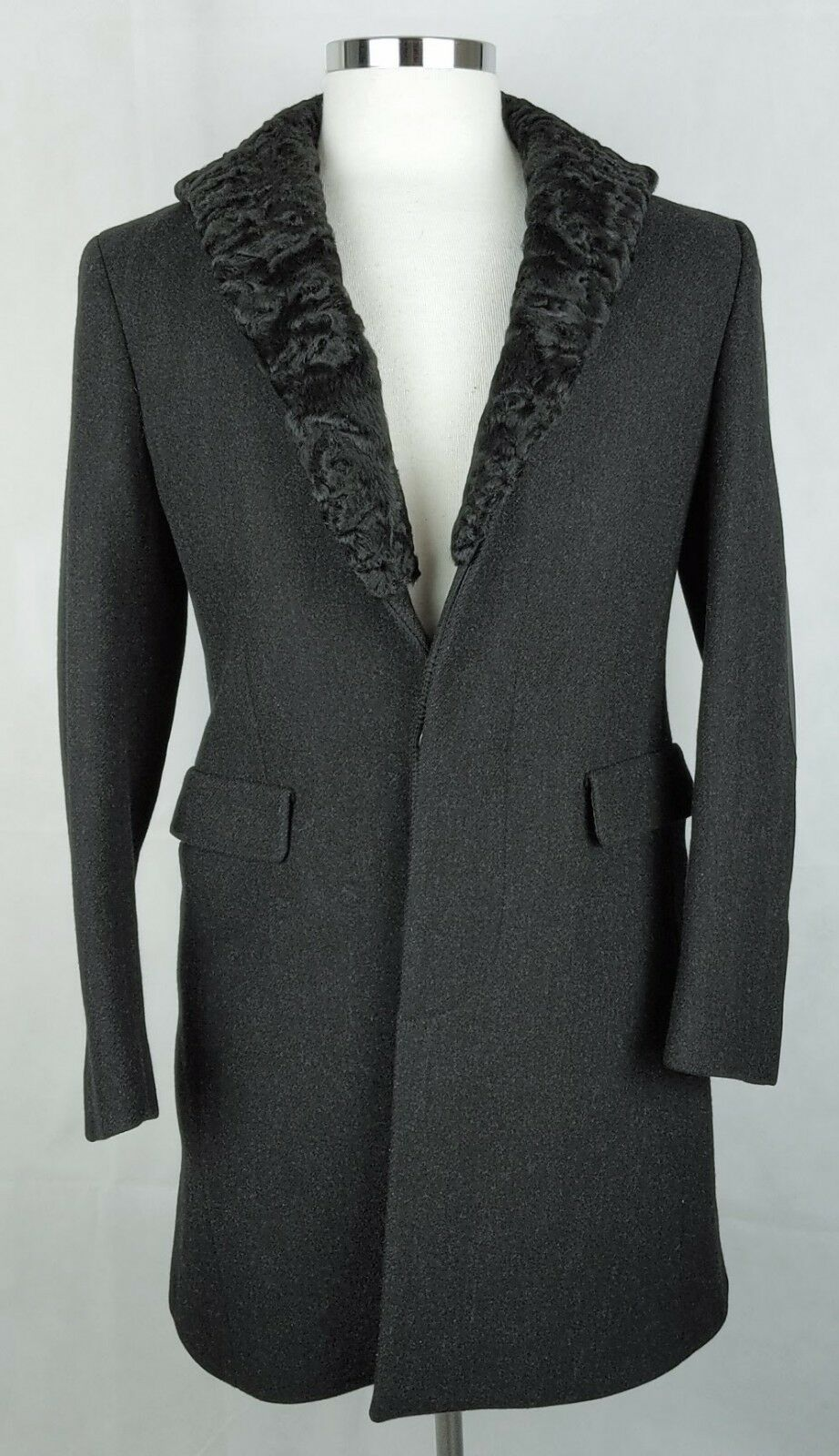 100% Authentic PRADA Virgin Wool Leather Coat With Lamb Fur 46R   10-12 US MINT