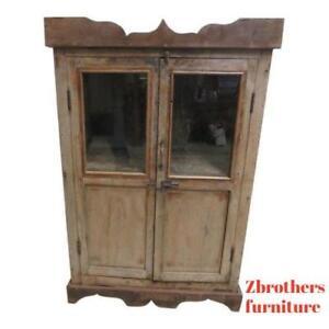 Details About Antique Primitive Architectural Salvage Hutch Gl Cabinet Cupboard M Q