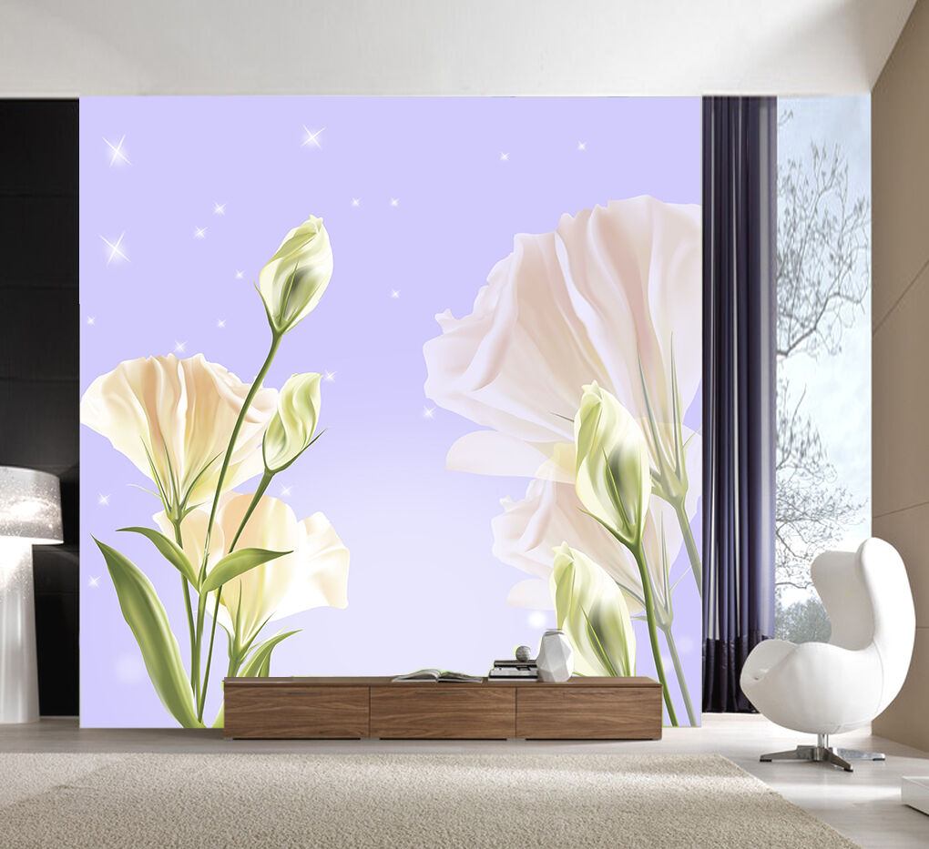 3D Pink flowers, buds 343 Wall Paper Print Wall Decal Deco Indoor Wall Murals