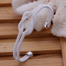 Promotion Price 925Sterling  Silver Mesh Kont Women Bangle Bracelet GB091