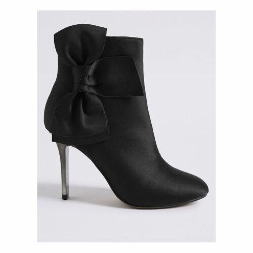 Rrp Bow Size Black Bnwt Boots Stiletto Satin Eur Ankle M Insolia amp;s Trim Uk 5 38 qqZA1w