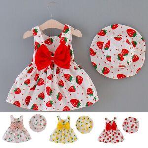 Toddler Baby Kids Girls Dot Patchwork Tulle Dress Princess Dress Hat Outfit Set